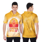 Pumpkin Spice AF Ice Cream Vintage Gold White Drop Painting 3D Designed Allover Gift For Halloween Holiday lovers Short Sleeve Hoodie
