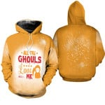 Halloween All The Ghouls Love Me Death Orange 3D Designed Allover Gift For Halloween Holiday Lovers Hoodie
