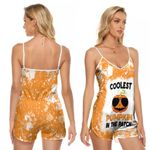 Coolest Pumpkin In The Patch Orange White Drop Painting 3D Designed Allover Gift For Halloween Holiday Lovers V-neck Romper Jumpsuit