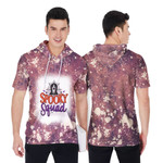 Spooky Squad Ghost Drop Painting Purple 3D Designed Allover Gift For Halloween Holiday Lovers Short Sleeve Hoodie