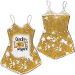 Teach Love Inspire Sunflower Vintage Gold Drop Painting 3D Designed Allover Gift For Teachers Romper Jumpsuit