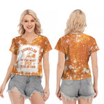 Counselor Of The Most Spook Tacular Kids Witch Spider Orange 3D Designed Allover Gift For Halloween Holiday Lovers V-neck Short Sleeve Blouse