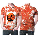 Trick Or Read Halloween Witch Orange White 3D Designed Allover Gift For Halloween Holiday Lovers Polo shirt