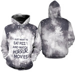 I just want eat pizza and watch horror movies 3D Designed Allover Gift For horror movies lovers Hoodie