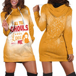 Halloween All The Ghouls Love Me Death Orange 3D Designed Allover Gift For Halloween Holiday Lovers Hoodie Dress