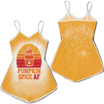 Pumpkin Spice AF Ice Cream Vintage Gold White Drop Painting 3D Designed Allover Gift For Halloween Holiday lovers Romper Jumpsuit