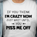 If you think I'm crazy now just wait until you p me off funny Tshirt gift for girl Tshirt