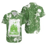 Halloween Castle Ghost White Green Drop Painting 3D Designed Allover Gift For Halloween Holiday Lovers Hawaiian Shirt