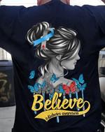 Believe diabetes prevention butterflies hippie girl Tshirt gift for diabetes fighter diabetes support Tshirt