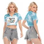 Teach Love Inspire Sunflower Vintage Blue Drop Painting 3D Designed Allover Gift For Teachers V-neck Lapel Blouse