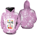 Happy first day of School Books Pencils Pink White Drop Painting 3D Designed Allover Gift For School Students Hoodie