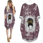 Mom Life Black Queen Afro 3D Designed Allover Gift For Afro Black Queen America Batwing Pocket Dress