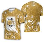 Teach Love Inspire Sunflower Vintage Gold Drop Painting 3D Designed Allover Gift For Teachers 3D T-shirt