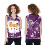 Boo Halloween Ghost Pumpkins Witch Purple White Drop Painting 3D Designed Allover Gift For Halloween Holiday Lovers Zip Sleeveless Hoodie