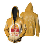 Pumpkin Spice AF Ice Cream Vintage Gold White Drop Painting 3D Designed Allover Gift For Halloween Holiday lovers Zip Hoodie