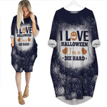 I love Halloween Im a die hard Black White 3D Designed Allover Gift For Halloween Holiday Lovers Batwing Pocket Dress