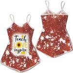Teach Love Inspire Sunflower Vintage Red Drop Painting 3D Designed Allover Gift For Teachers Romper Jumpsuit
