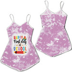 Happy first day of School Books Pencils Pink White Drop Painting 3D Designed Allover Gift For School Students Romper Jumpsuit