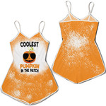 Coolest Pumpkin In The Patch Orange Drop Painting 3D Designed Allover Gift For Halloween Holiday Lovers Romper Jumpsuit
