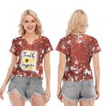 Teach Love Inspire Sunflower Vintage Red Drop Painting 3D Designed Allover Gift For Teachers V-neck Short Sleeve Blouse