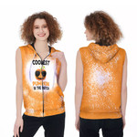 Coolest Pumpkin In The Patch Orange Drop Painting 3D Designed Allover Gift For Halloween Holiday Lovers Zip Sleeveless Hoodie