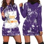 Happy Halloween Witch Pumpkins Purple 3D Designed Allover Gift For Halloween Holiday Lovers Hoodie Dress