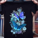 Gorgeous blue butterfly with beautiful blooming flowers Tshirt gift for girl butterfly lovers flower lovers Tshirt