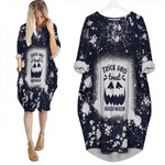 Trick And Treat Halloween Pumpkins Black Drop Painting 3D Designed Allover Gift For Halloween Holiday Lovers Batwing Pocket Dress