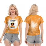Coolest Pumpkin In The Patch Orange Drop Painting 3D Designed Allover Gift For Halloween Holiday Lovers V-neck Short Sleeve Blouse