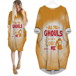 Halloween All The Ghouls Love Me Death Orange 3D Designed Allover Gift For Halloween Holiday Lovers Batwing Pocket Dress