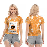 Coolest Pumpkin In The Patch Orange White Drop Painting 3D Designed Allover Gift For Halloween Holiday Lovers V-neck Short Sleeve Blouse