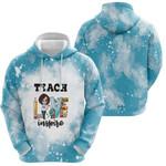 Teach Love Inspire Sunflower Vintage Blue Drop Painting 3D Designed Allover Gift For Teachers Hoodie