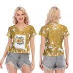 Teach Love Inspire Sunflower Vintage Gold Drop Painting 3D Designed Allover Gift For Teachers V-neck Short Sleeve Blouse
