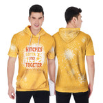 Witches gotta stick together gold 3D Designed Allover Gift For Halloween Holiday Lovers Short Sleeve Hoodie
