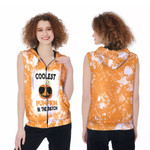 Coolest Pumpkin In The Patch Orange White Drop Painting 3D Designed Allover Gift For Halloween Holiday Lovers Zip Sleeveless Hoodie