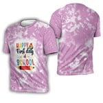 Happy first day of School Books Pencils Pink White Drop Painting 3D Designed Allover Gift For School Students 3D T-shirt