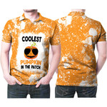 Coolest Pumpkin In The Patch Orange White Drop Painting 3D Designed Allover Gift For Halloween Holiday Lovers Polo shirt