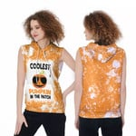 Coolest Pumpkin In The Patch Orange White Drop Painting 3D Designed Allover Gift For Halloween Holiday Lovers Sleeveless Dress