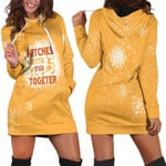 Witches gotta stick together gold 3D Designed Allover Gift For Halloween Holiday Lovers Hoodie Dress