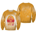 Pumpkin Spice AF Ice Cream Vintage Gold White Drop Painting 3D Designed Allover Gift For Halloween Holiday lovers Sweater