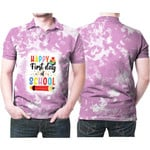 Happy first day of School Books Pencils Pink White Drop Painting 3D Designed Allover Gift For School Students Polo shirt