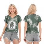 Autism Mom Life Lady Green Drop Painting 3D Designed Allover Gift For Autism Fighters V-neck Short Sleeve Blouse