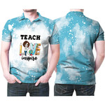 Teach Love Inspire Sunflower Vintage Blue Drop Painting 3D Designed Allover Gift For Teachers Polo shirt