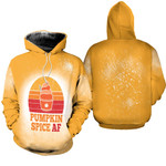 Pumpkin Spice AF Ice Cream Vintage Gold White Drop Painting 3D Designed Allover Gift For Halloween Holiday lovers Hoodie