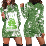 Halloween Castle Ghost White Green Drop Painting 3D Designed Allover Gift For Halloween Holiday Lovers Hoodie Dress