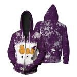 Boo Halloween Ghost Pumpkins Witch Purple White Drop Painting 3D Designed Allover Gift For Halloween Holiday Lovers Zip Hoodie