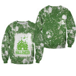 Halloween Castle Ghost White Green Drop Painting 3D Designed Allover Gift For Halloween Holiday Lovers Sweater