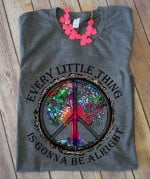 Every little thing is gonna be alright hippie tree Tshirt gift for hippie girl Tshirt