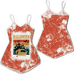 Halloween Time Ghost Castle White Orange Drop Painting 3D Designed Allover Gift For Halloween Holiday Lovers Romper Jumpsuit