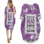 HWIC head witch in charge White Purple Drop Painting 3D Designed Allover Gift For Halloween Holiday Lovers Batwing Pocket Dress
